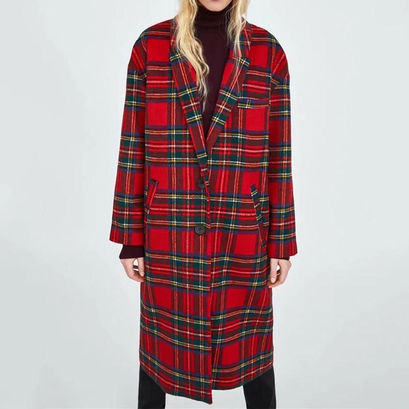 Manteau Tartan Rouge de Mi Saison JANGO
