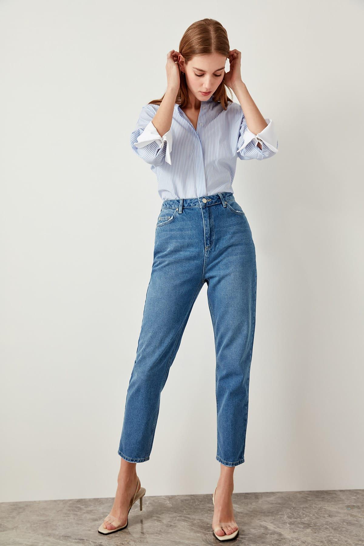 Jean Taille Haute 80s TIEANA Différents Coloris