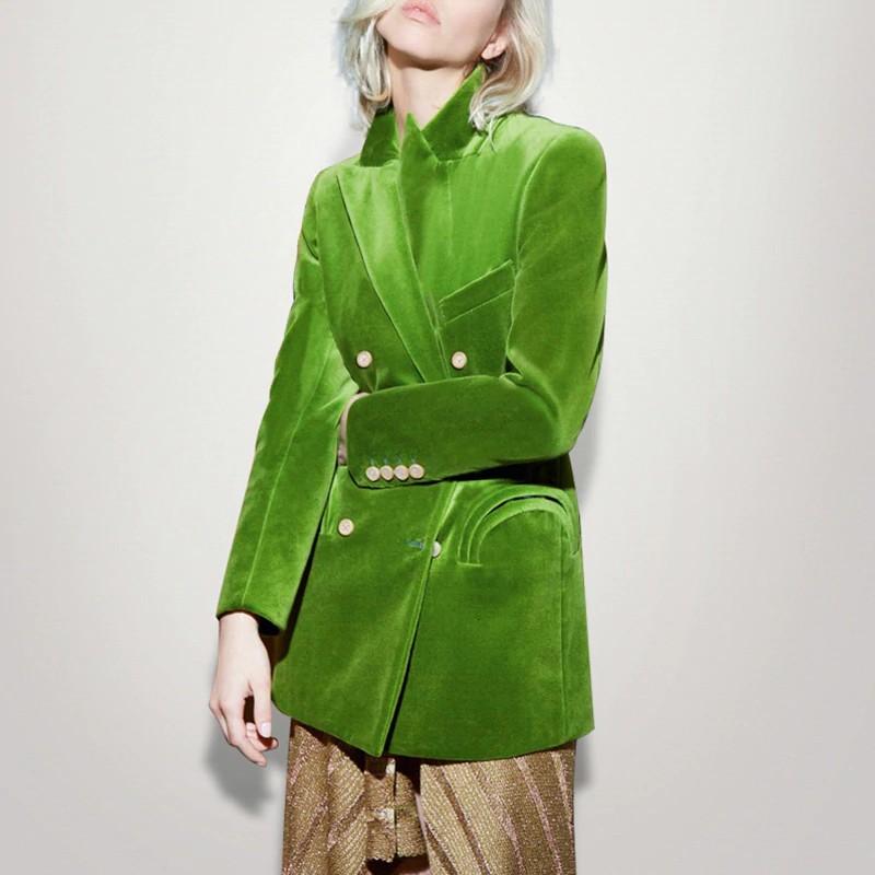 Veste Verte Velours à Double boutonnage CLOTHILDE