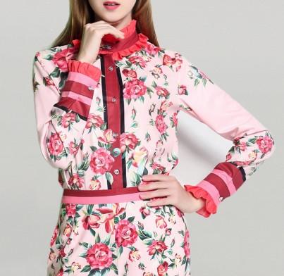 Blouse Rose Fleurie Volantée JOAONA