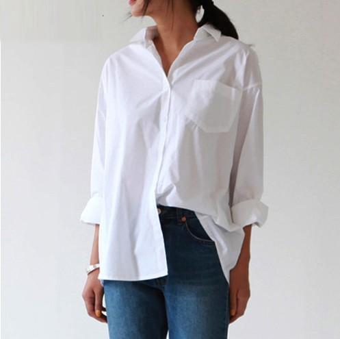Chemise Blanche Casual à Poches Esprit Masculin Féminin MINDA