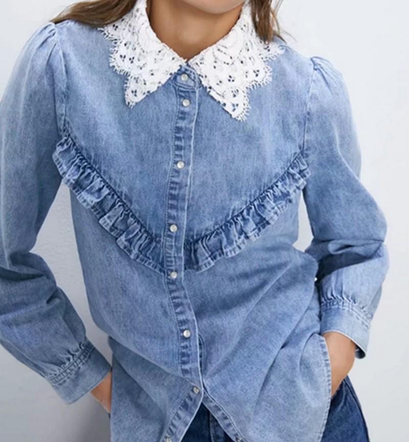 Chemise Esprit Vintage en Jean à Col Contrasté EUNIE