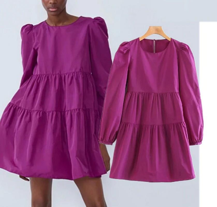 Robe Courte Babydoll à Manches Bouffantes ANAEL 2 Coloris