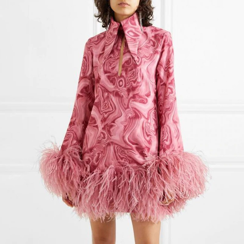 Robe Courte Rose Seventies à Plumes LAPEL