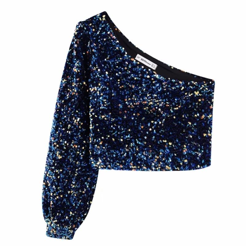 Blouse Crop Bleu Nuit à Sequins STUART