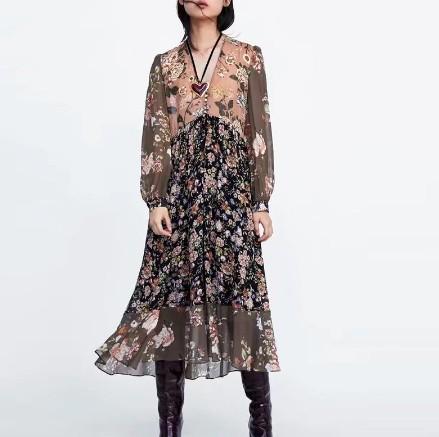 Robe Longue Bohème Noire Fleurie LLEGA