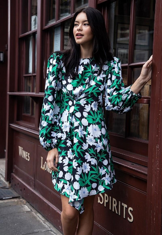 Robe Verte Fleurie à Manches Lanternes FLAVOR