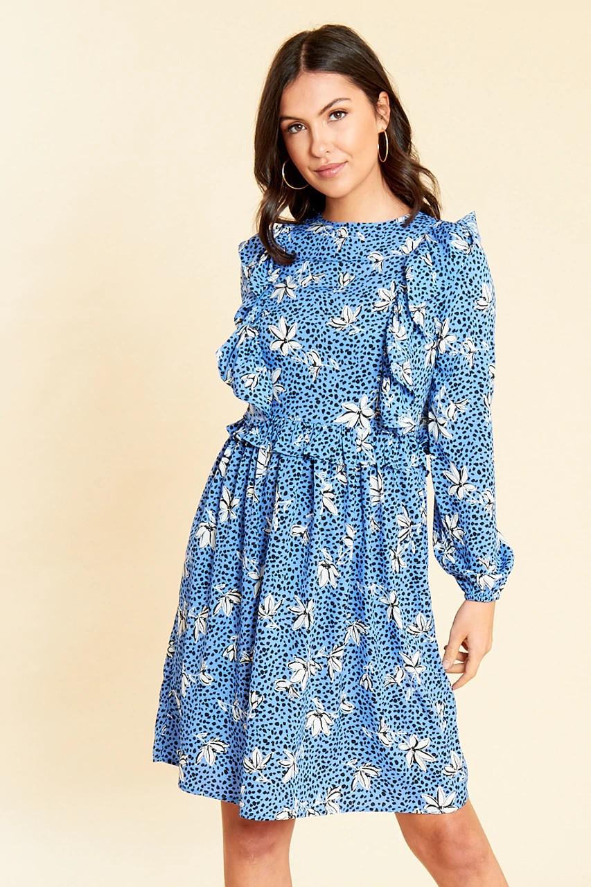 Robe Fleurie Bleue Volantée BIB