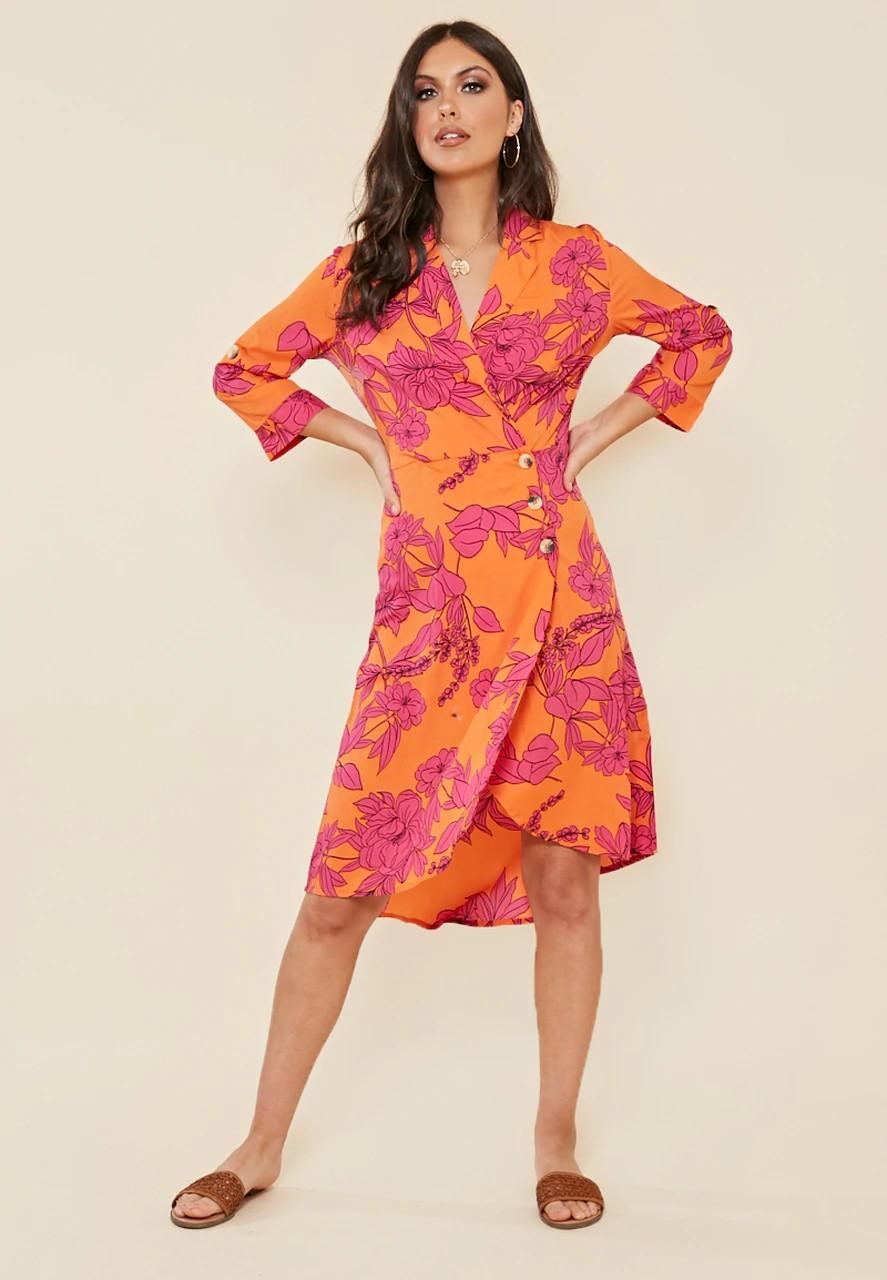 Robe Orange Midi Tropicale à Fleurs SIDE