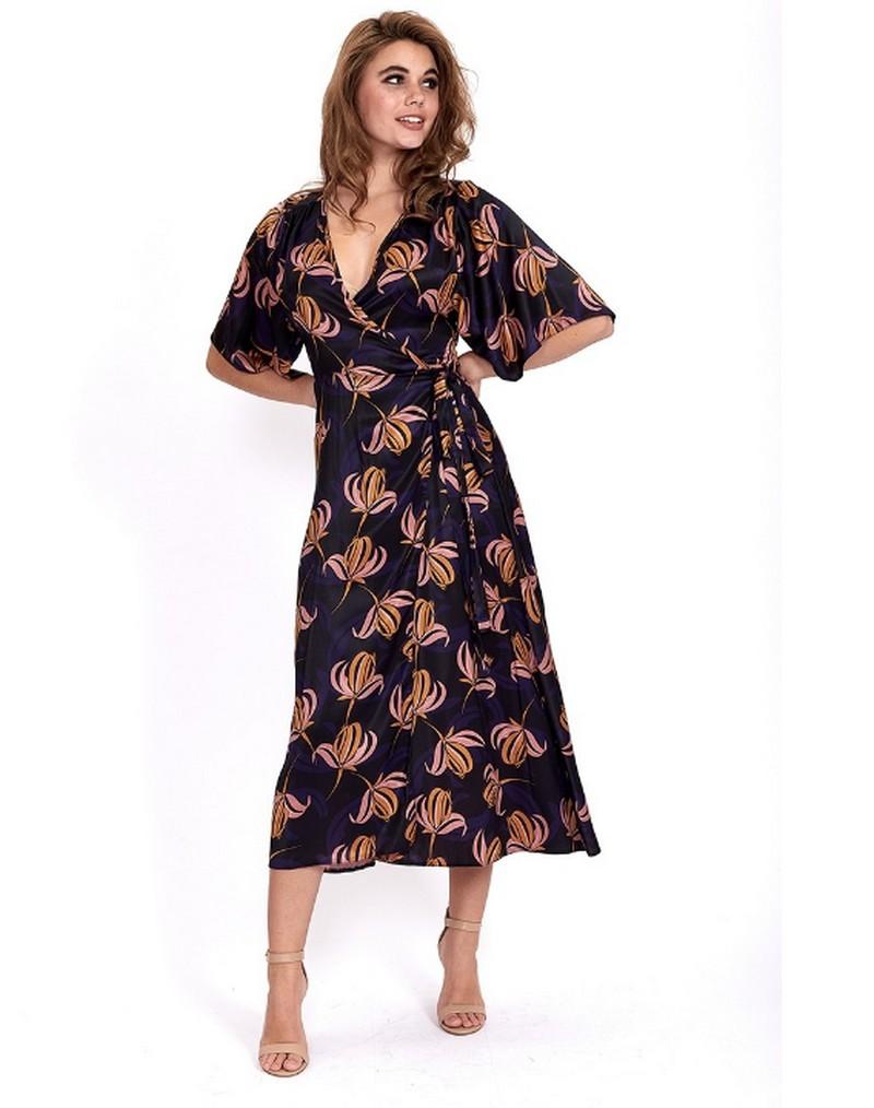 Robe Midi Kimono Portefeuille Florale USUAL