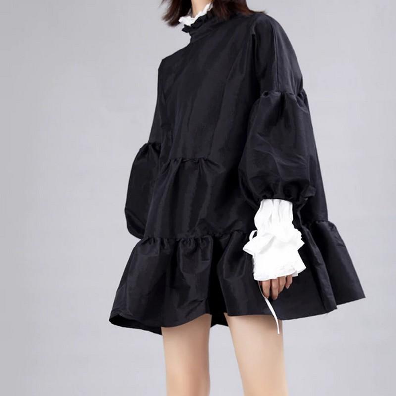 Robe Noire Babydoll à Manches Lanternes ROLAND