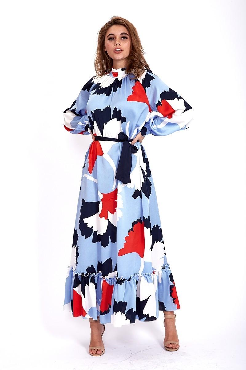 Maxi Robe Longue Bleue Abstraite Fleurie