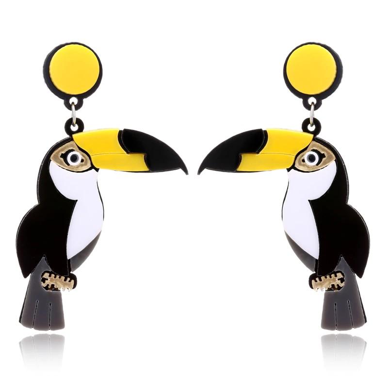 Boucles d\'Oreilles Longues Oiseau Pelican