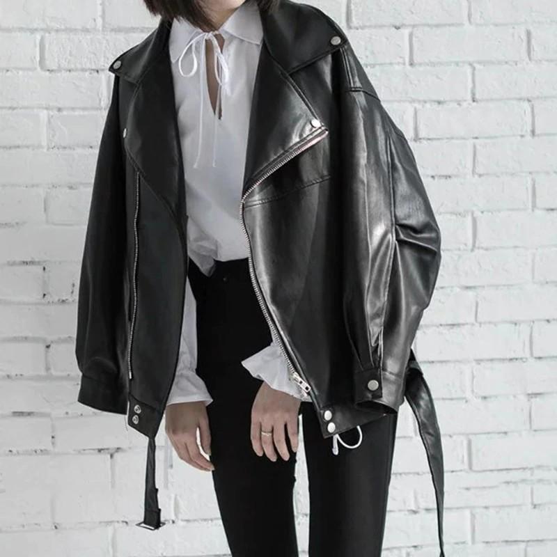 Veste Simili Cuir Noire Zippée Style Perfecto