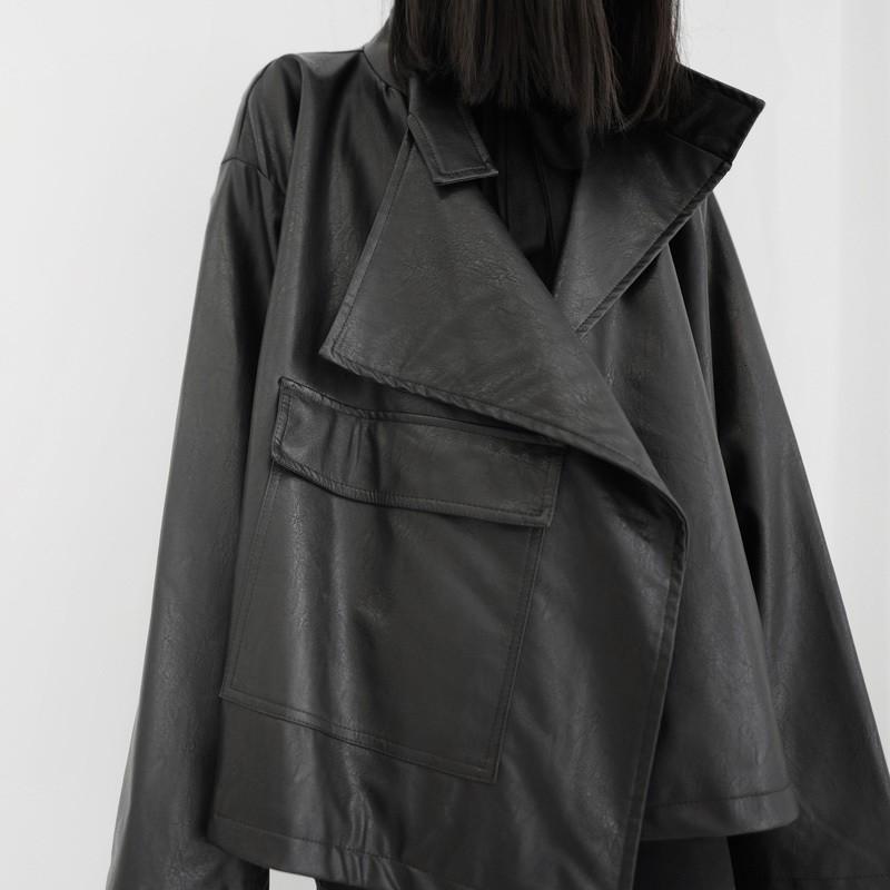 Veste Noire Couture Loose Simili Cuir ARGO