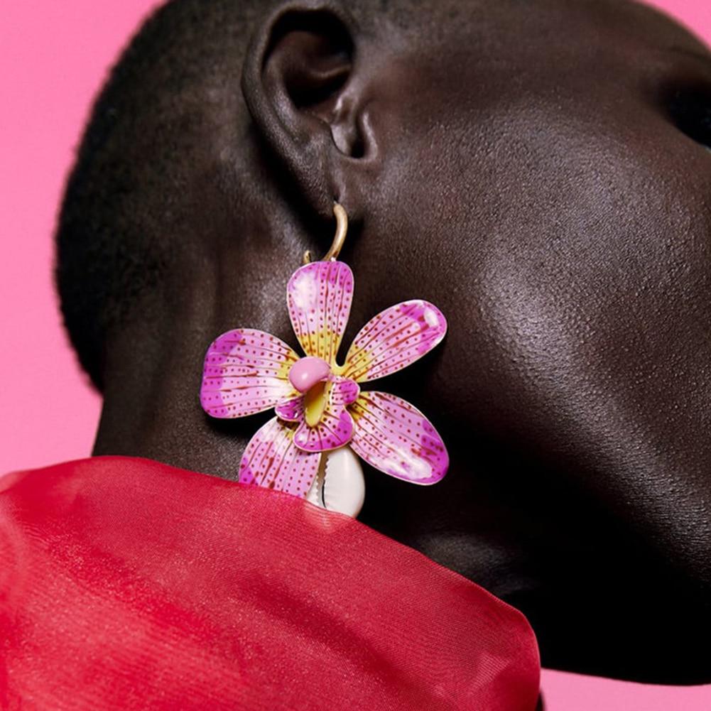 Boucles d\'Oreilles Fantaisie Fleur et Coquillage 2 Coloris