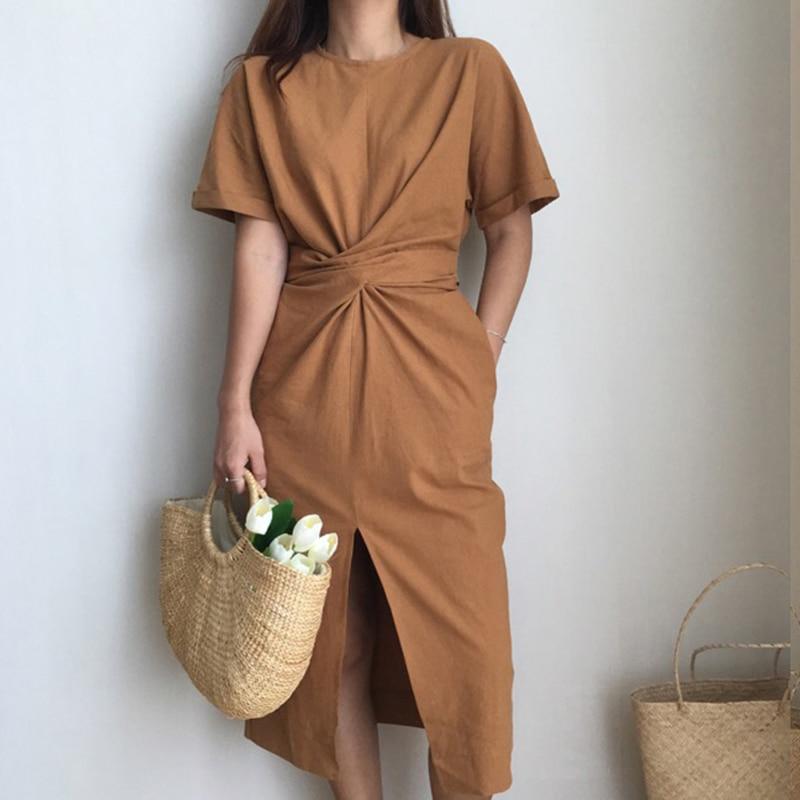 Robe Mi Longue Coton Froncée GIO 2 Coloris