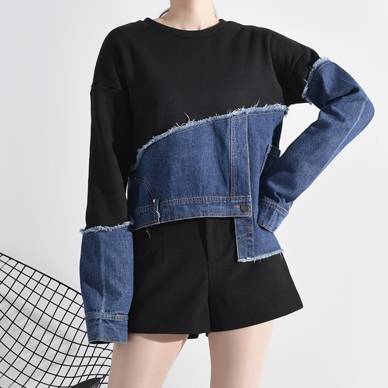 Sweatshirt Patchwork Asymétrique Noir et Denim