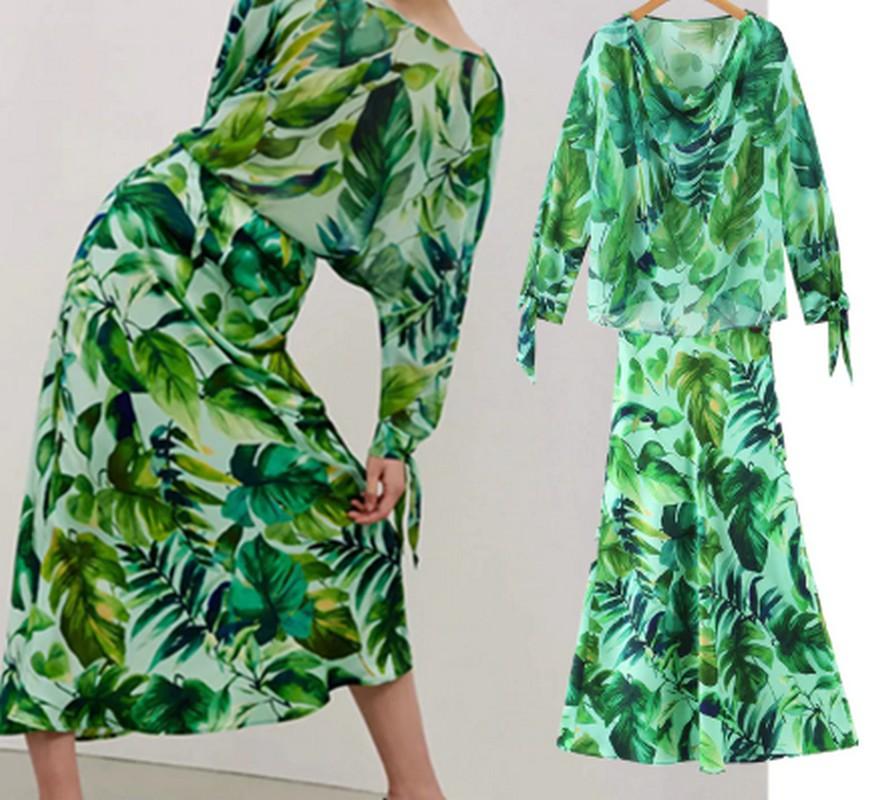 Ensemble Vert Tropical Jupe et Top HENNA