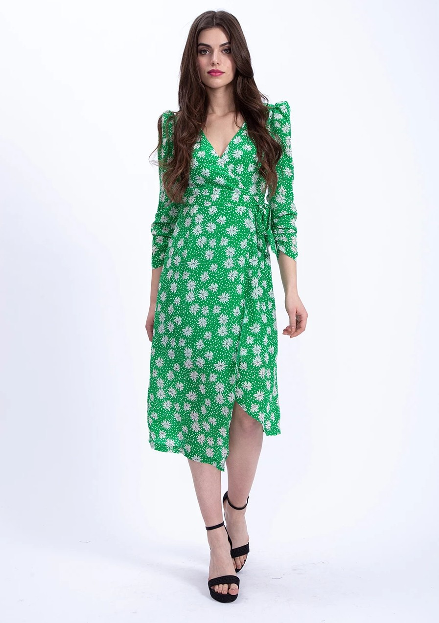 Robe Midi Verte Fleurie DAISI