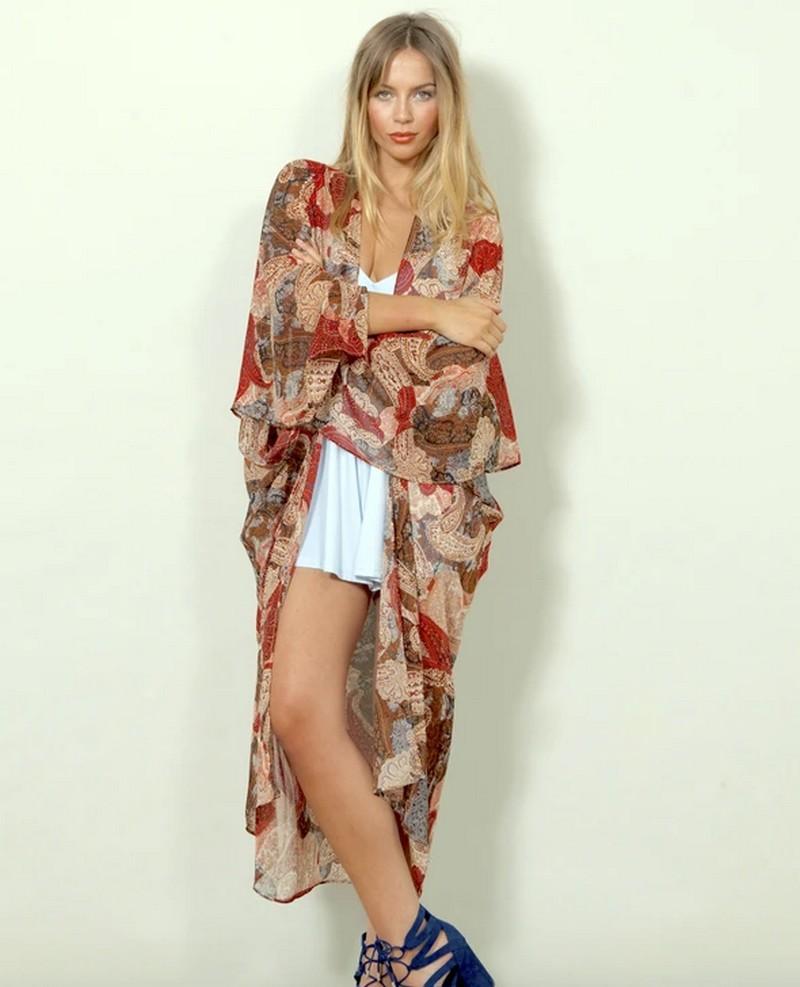 Veste Kimono d\'été Imprimé Cachemire SAIL