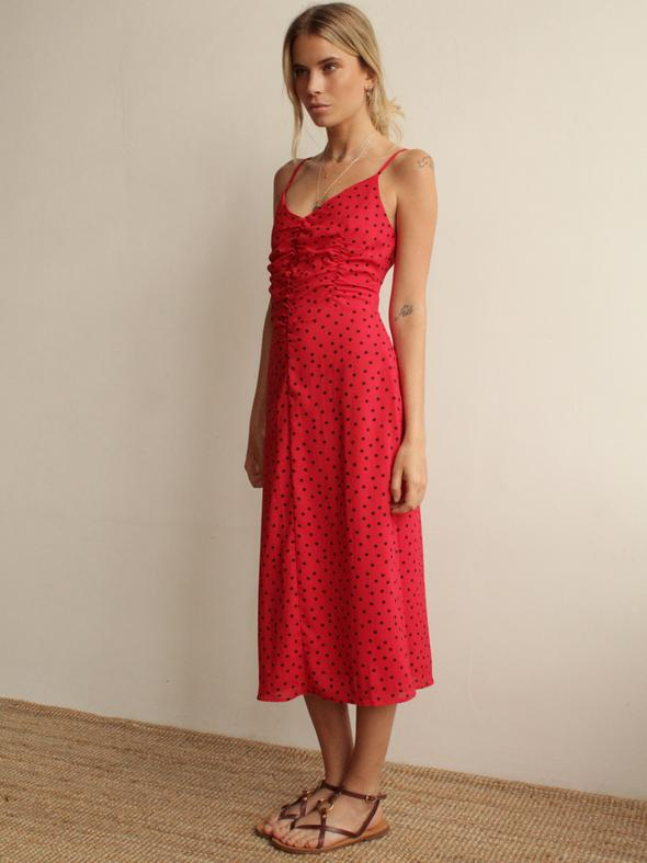 Robe Midi Rouge à Pois DYLAN
