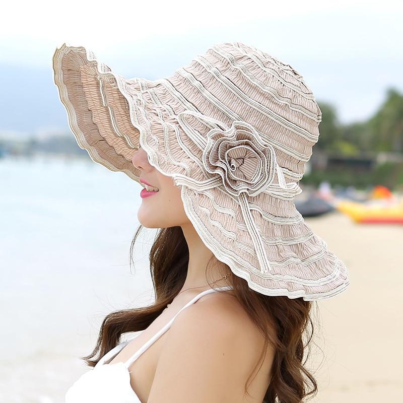 Chapeau de soleil de plage avec fleurs Différents Coloris