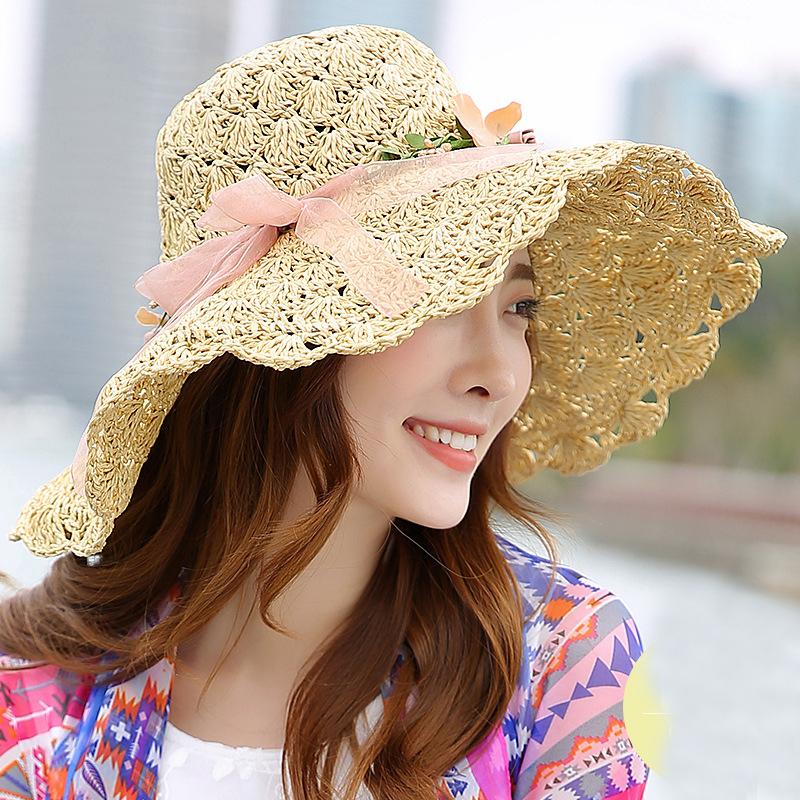 Chapeau de Paille à Guirlande de fleurs Différents Coloris