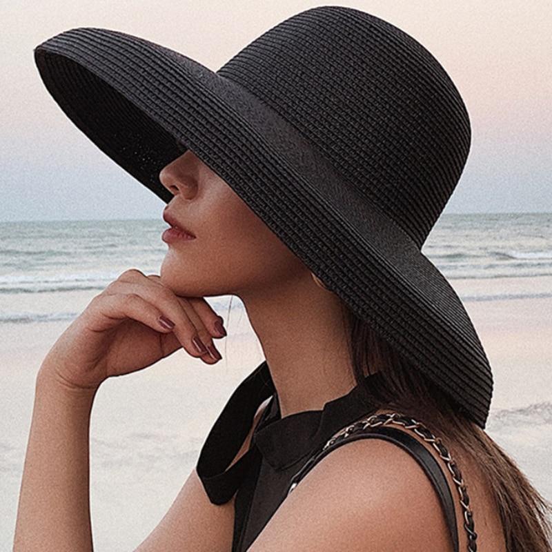 Chapeau à large bord en paille souple Différents Coloris