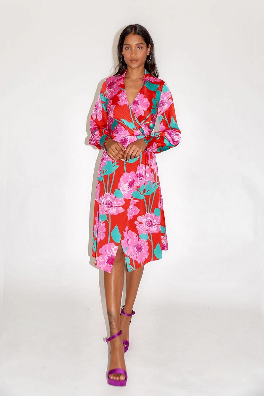 Robe Midi Colorée Fleurie YZCA