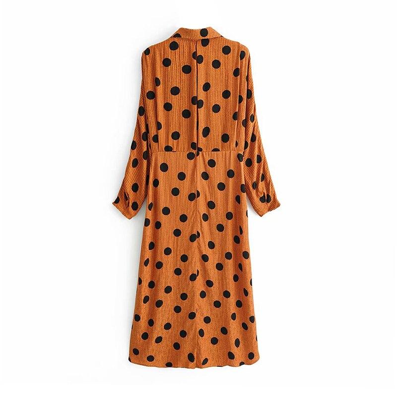 Robe Midi Orange à Pois et Manches Chauve-souris
