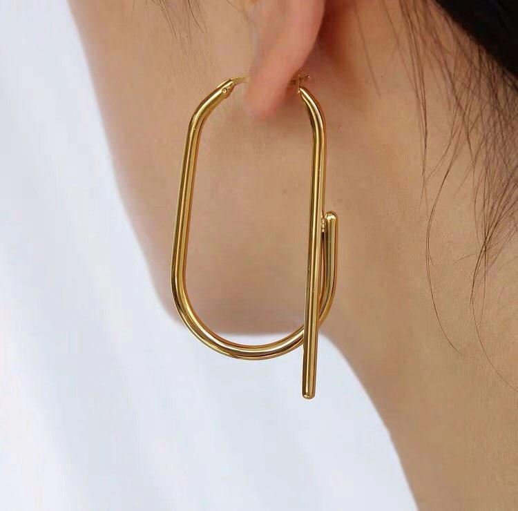 Boucles d\'oreilles Géométriques en Métal 2 Coloris