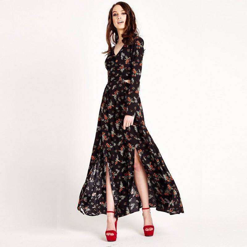 Robe Longue Maxi Noire Fleurie à Découpes CUTAW