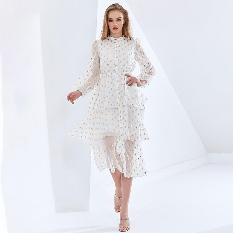 Robe Blanche Taille Haute Volantée à Sequins Mi Longue OYA