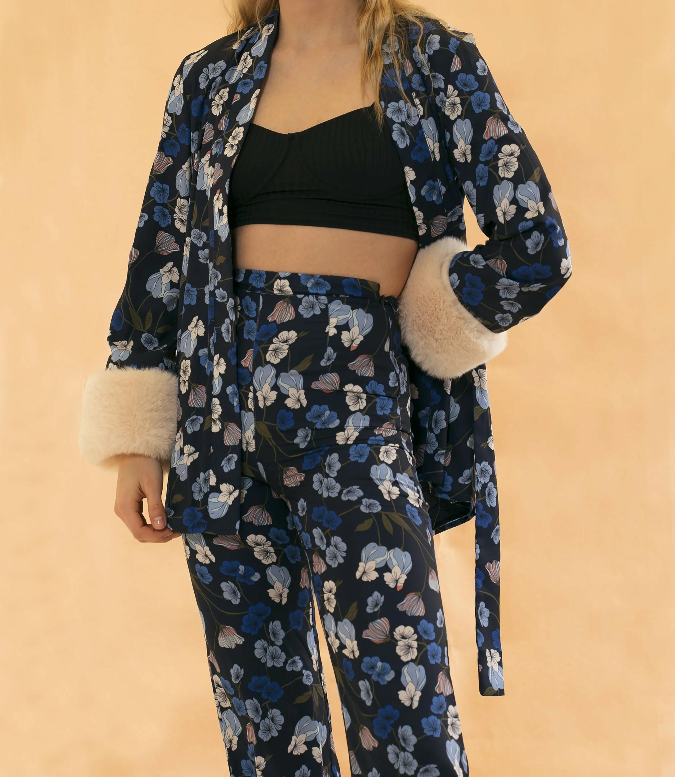 Pantalon Chill Fleuri Casual SAKURA Bleu