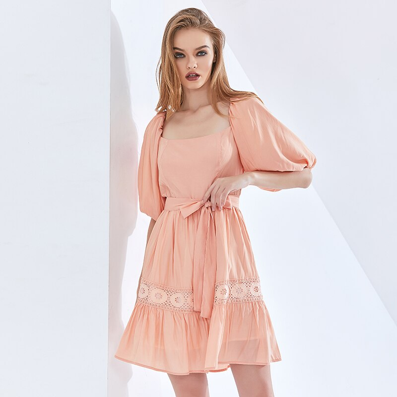 TWOTWINSTYLE-robe-n-ud-pour-femmes-l-gante-col-carr-manches-bouffantes-taille-haute-v-tements