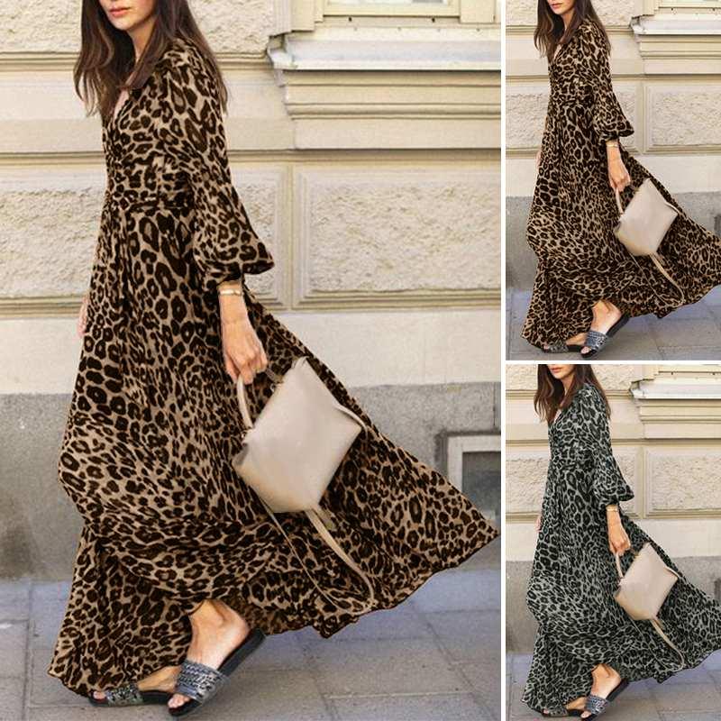ZANZEA-robe-longue-manches-bouffantes-pour-femmes-tenue-de-soir-e-Sexy-imprim-l-opard-col