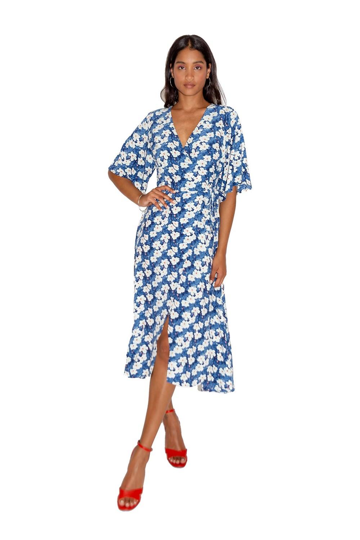 Robe Midi Bleue Portefeuille Fleurie à Manches Kimono