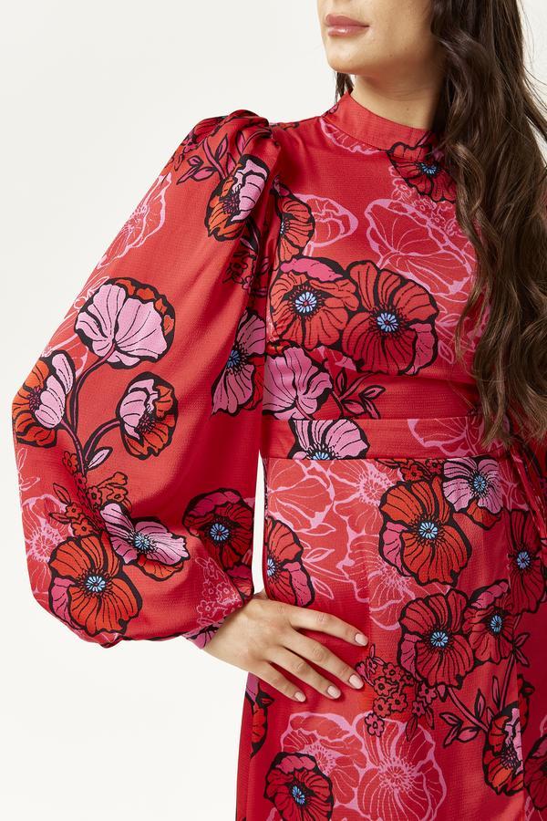Robe Rouge Midi Florale à Maxi Manches Ballons NECK