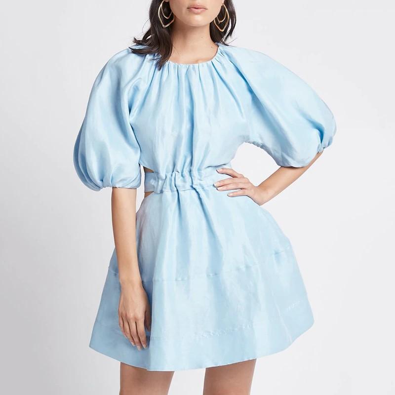Robe Courte Patineuse à Manches Bouffantes GIO Bleu