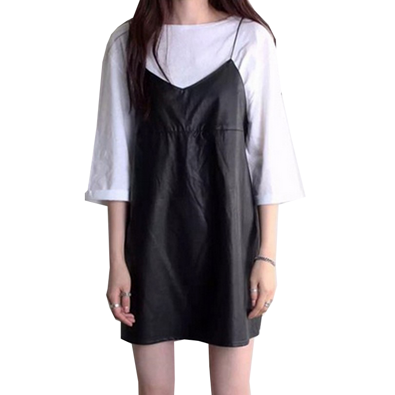 Robe Casual Simili Cuir Noire à Bretelles LEONIE