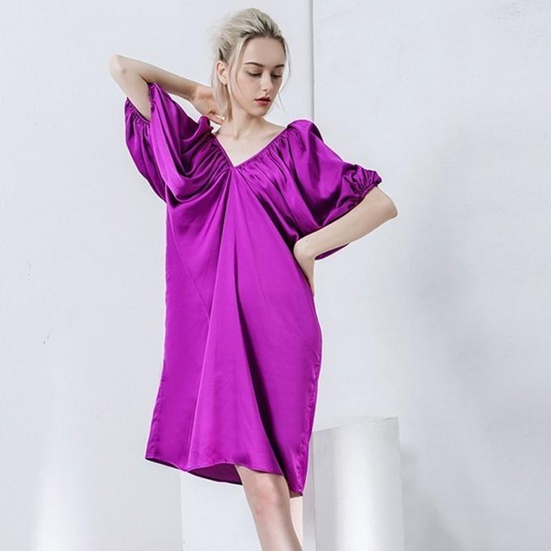 Robe Loose Violette à Manches Lanternes ATEO