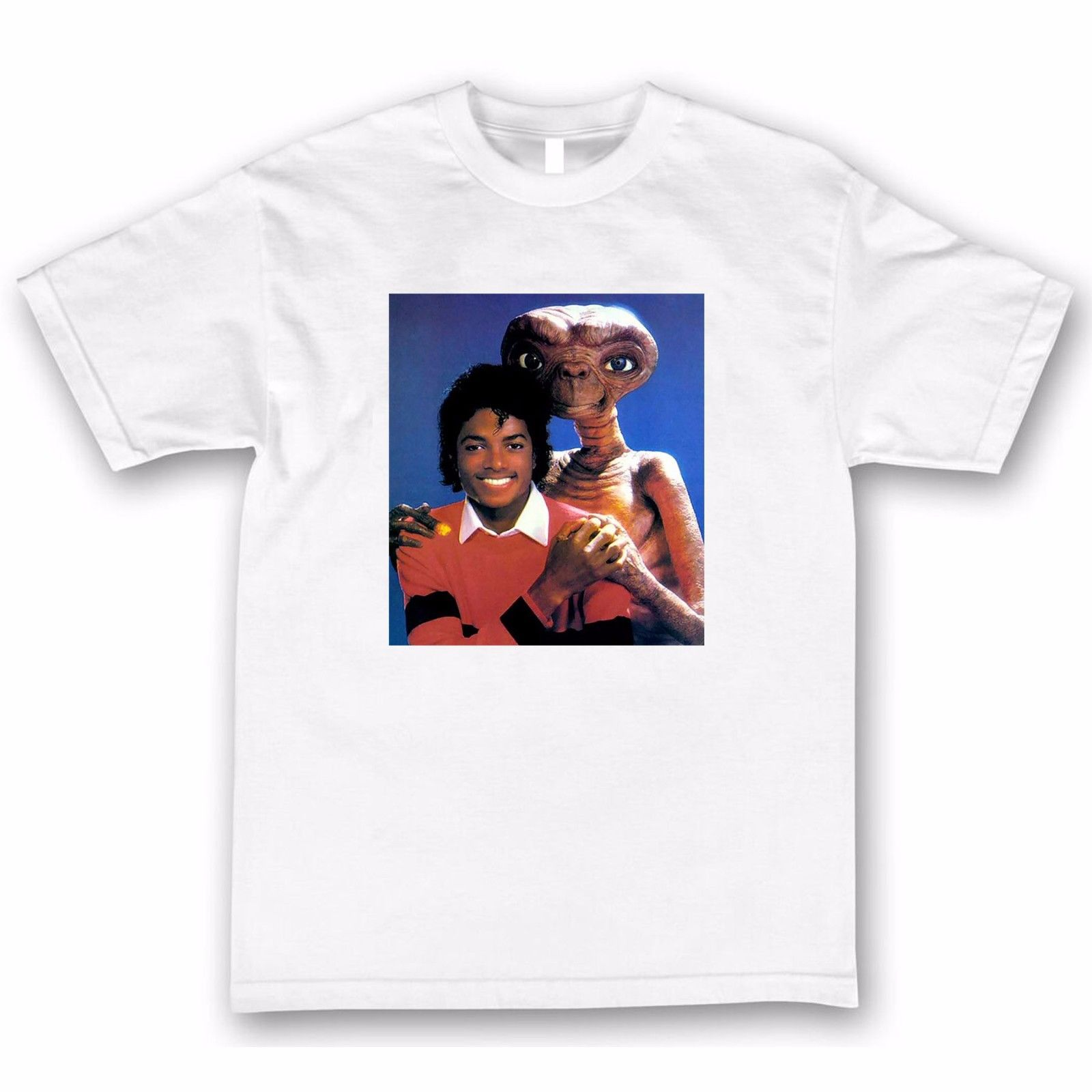 T-Shirt Homme Blanc Michael Jackson & E.T