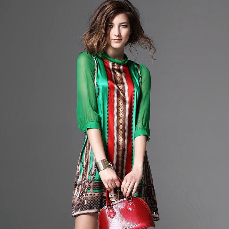 Robe Esprit Vintage Verte à Imprimé Foulard ZAZA