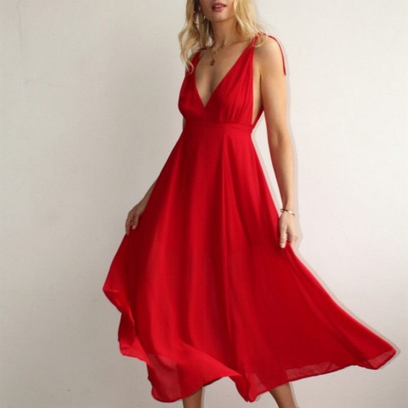Robe Longue Evasée Vaporeuse Rouge RUSTIC