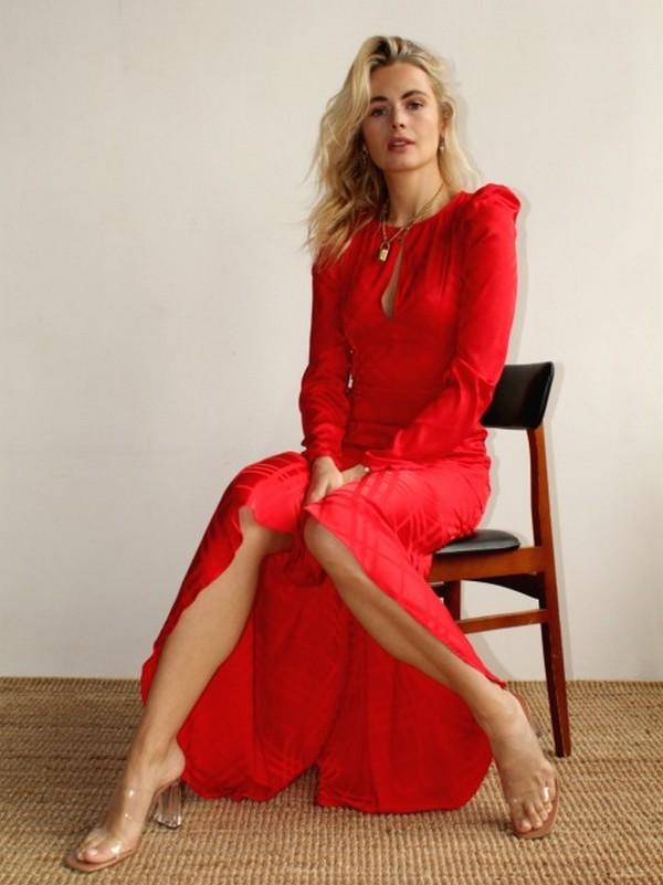 Robe Longue Rouge Satinée Esprit Vintage EDWINA