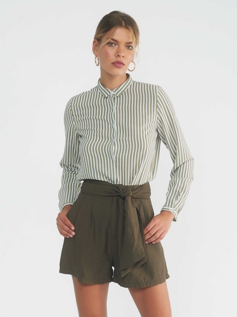 Short Vert Kaki Taille Haute PIPER