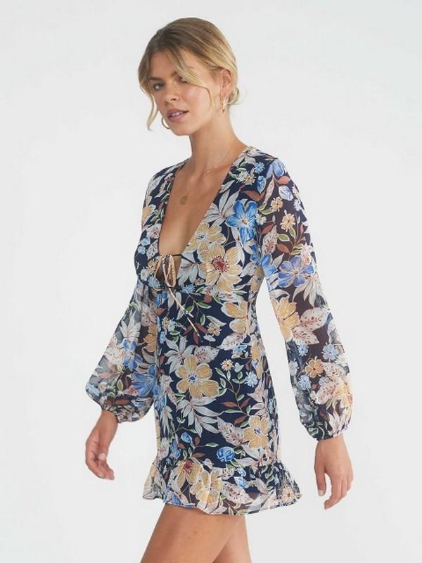 Robe Courte Colorée Fleurie à Manches Lanternes DUSTY