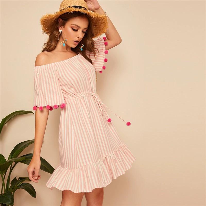 Robe Bardot Rose Rayée à Pompons FREE