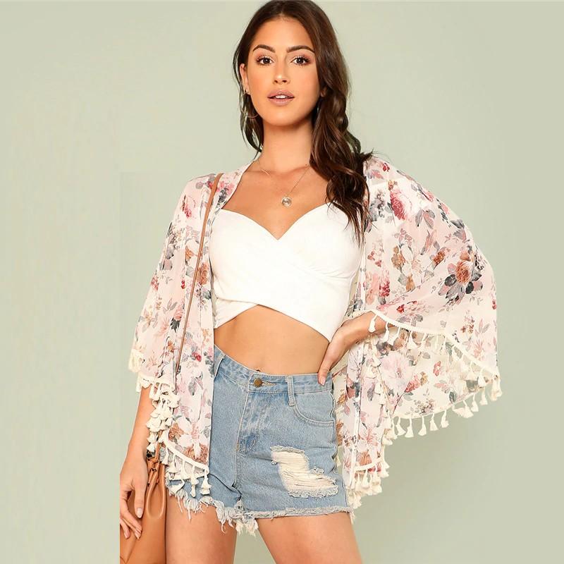 Cardigan Kimono Fleuri Rose à Franges HEDA